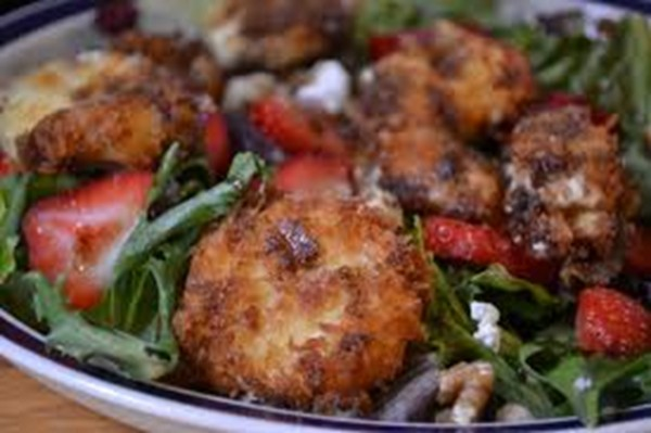 Fried Goat Cheese Salad with Raspberry Vinaigrette
