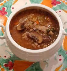 mushroom barley soup and hotdogs