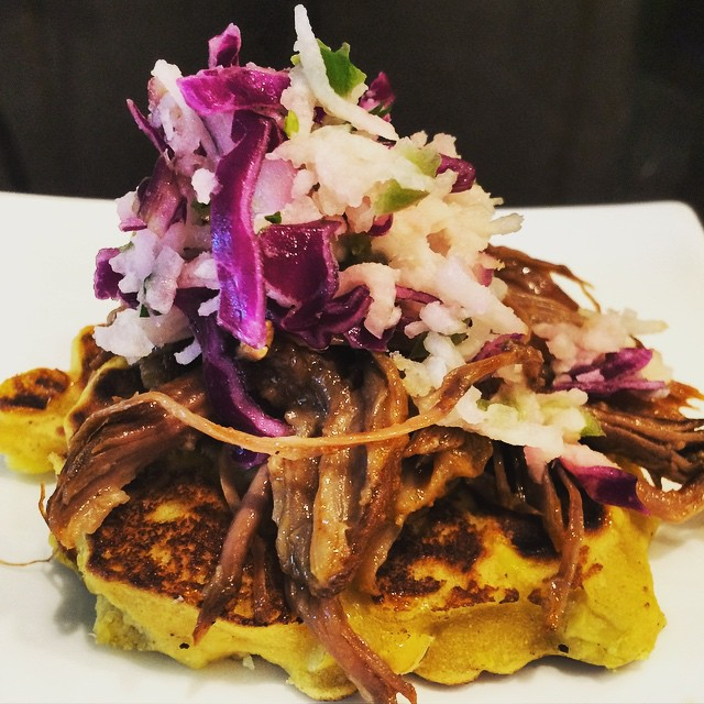 corn fritters, pulled beef and jicama